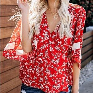 Red Floral Print Wrap Blouse
